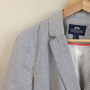 British Khaki One Button Searsucker Striped Blazer